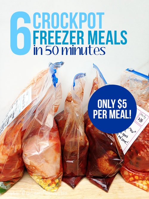 6 Crockpot Freezer Meals in 50 Minutes