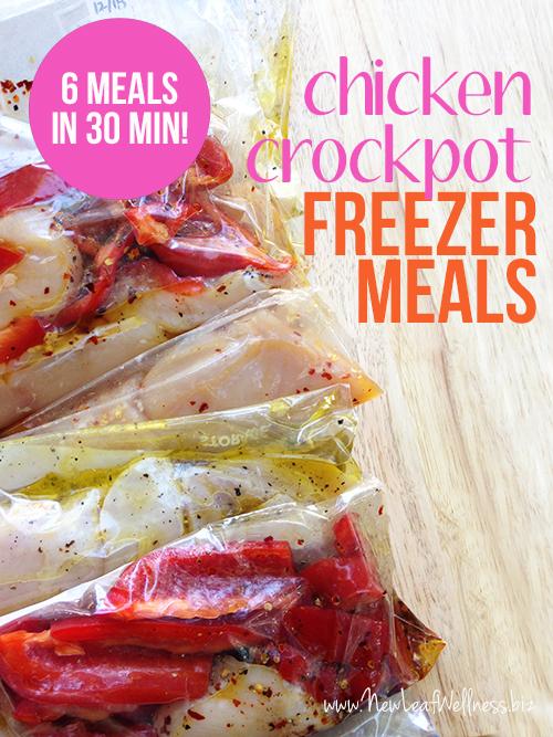 6 Chicken Crockpot Freezer Meals in 30 Minutes