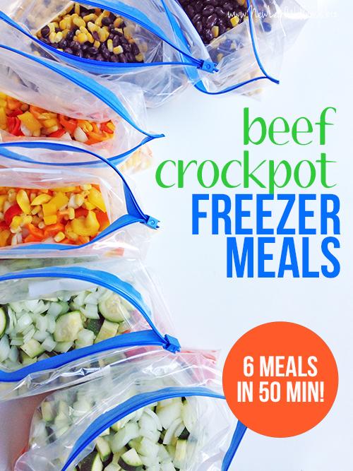 Beef Crockpot Freezer Meals in 50 Minutes