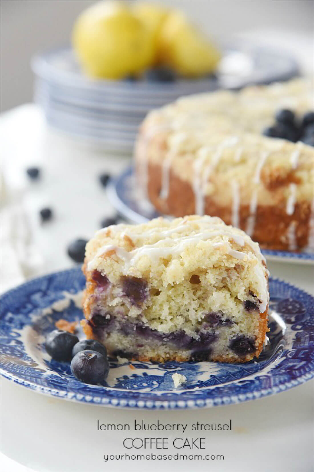 Lemon Blueberry Coffee Cake with Streusel - a light and delicious cake!