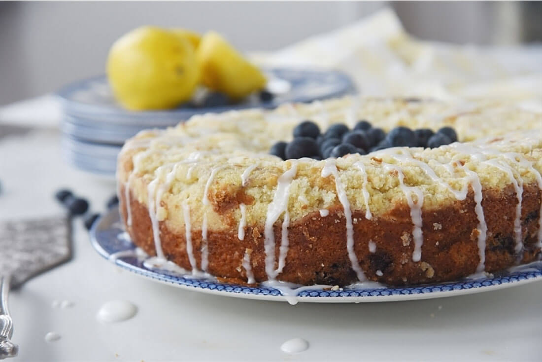 Lemon Blueberry Coffee Cake with Streusel - a light and delicious cake! from Your Homebased Mom