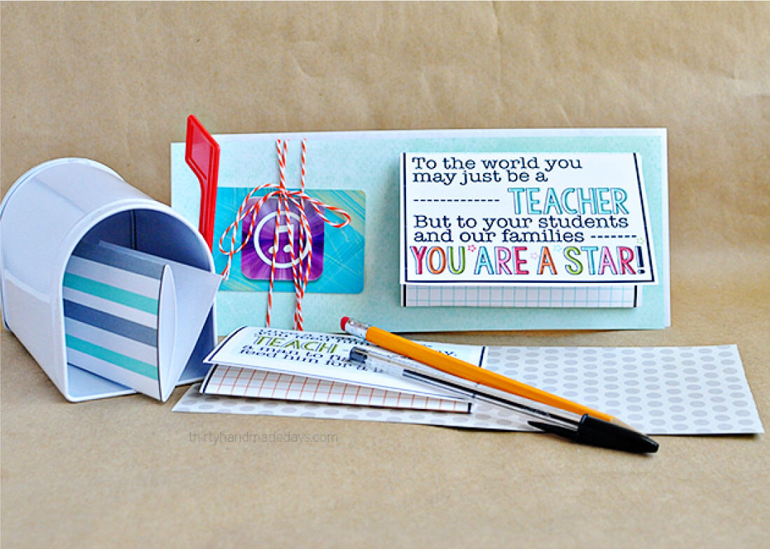 Printable Teacher Appreciation Gift Card Template- have your child fill out and attach a gift card for the ultimate gift! from 30daysblog