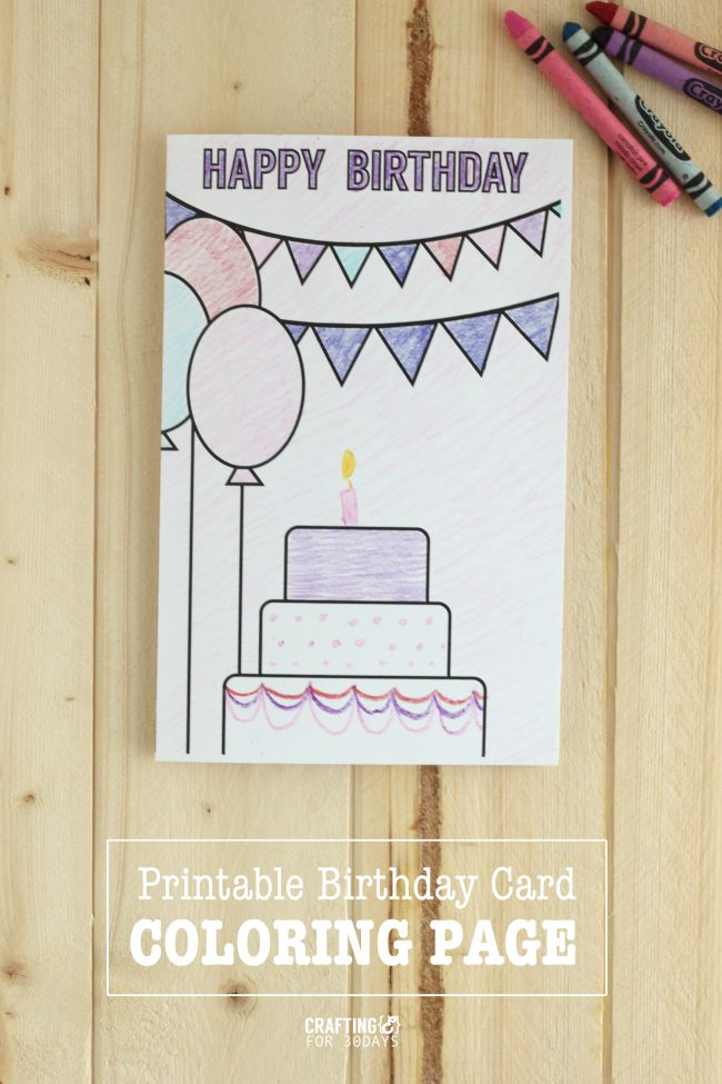 Printable Birthday Cards Coloring Page