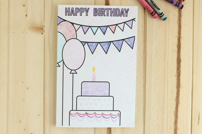 Printable Birthday Cards Coloring Page - a fun birthday card for you to color in! via thirtyhandmadedays.com