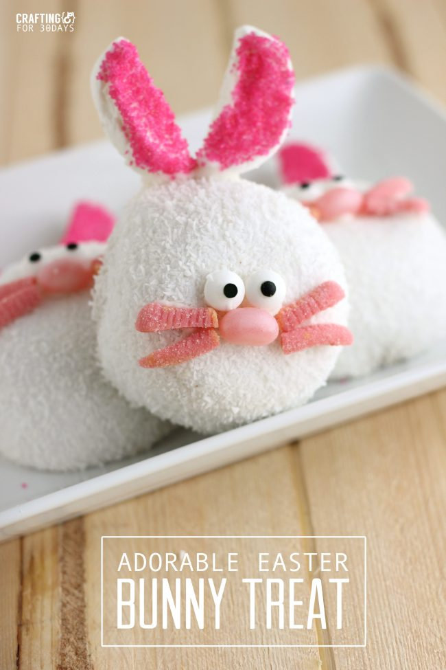 Make these adorable Easter Bunny Treats with your family this Easter season.  Not only are they cute but they are easy to make!