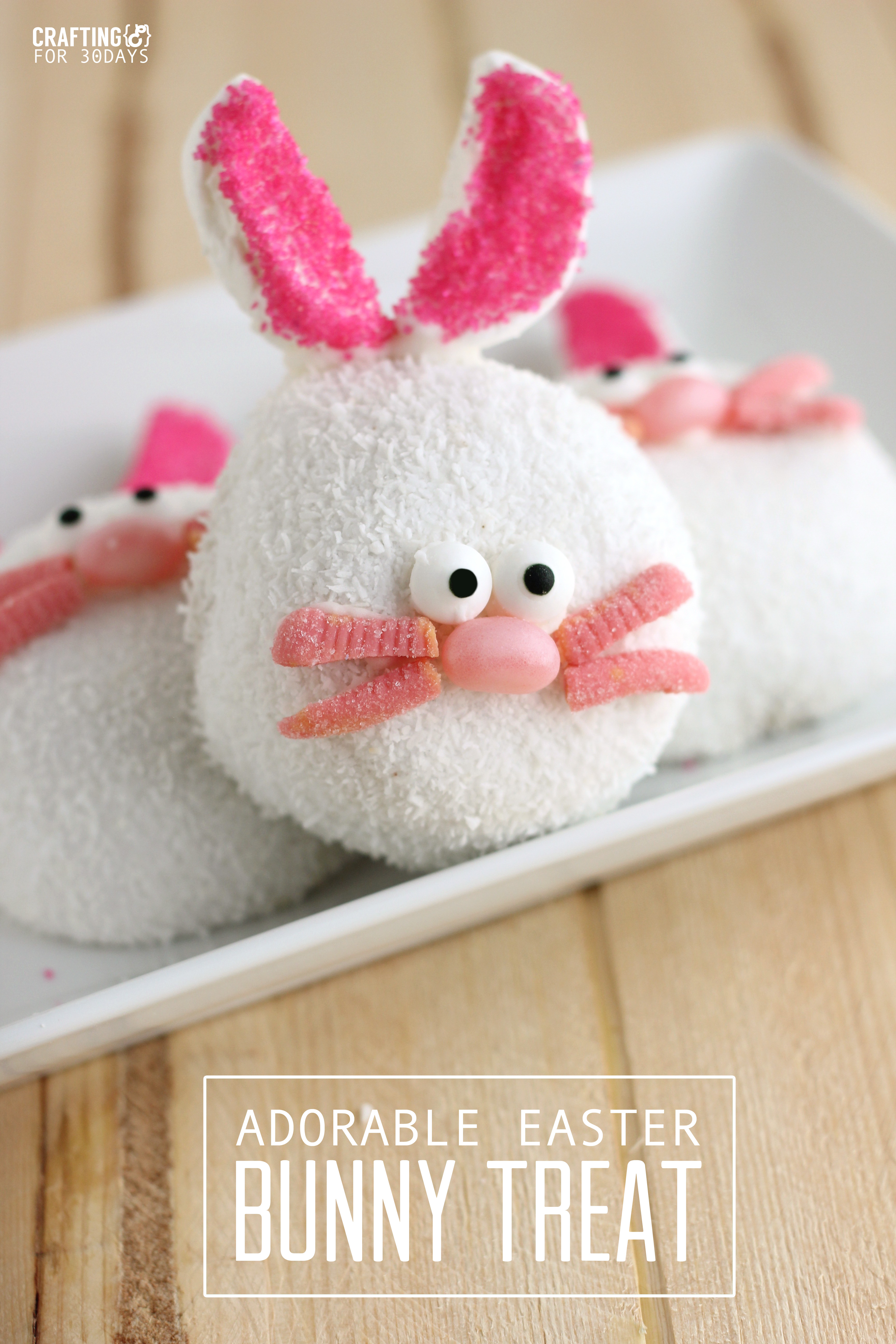 Make these adorable Easter Bunny Treats with your family this Easter season. Not only are they cute but they are easy to make! From CraftingE via www.thirtyhandmadedays.com