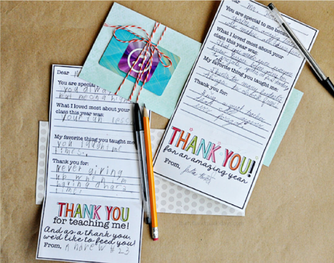 Have your child fill in this teacher gift card template for year end gift or teacher appreciation week