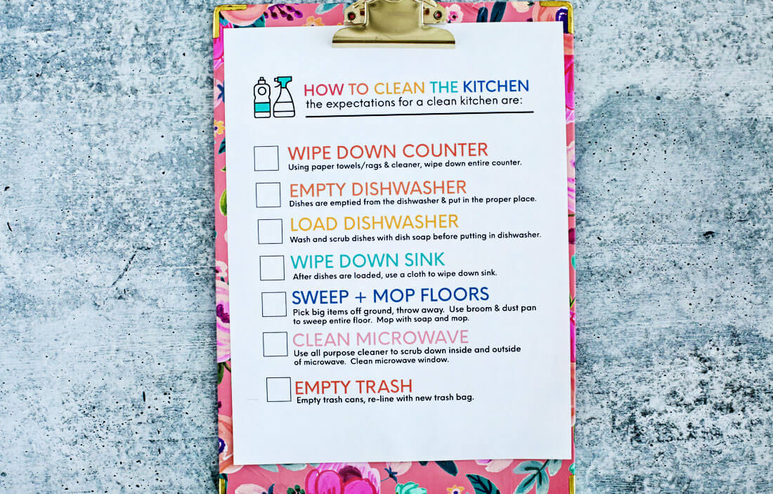 Kitchen Cleaning Printable - up close