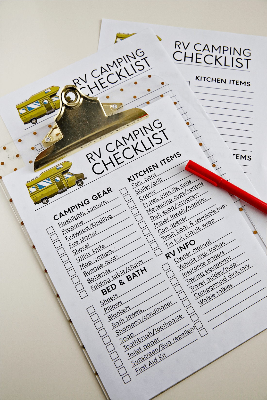 Printable RVing checklists to help make RVing easier! Use these for your next RV trip. Perfect for summer vacation! from www.thirtyhandmadedays.com