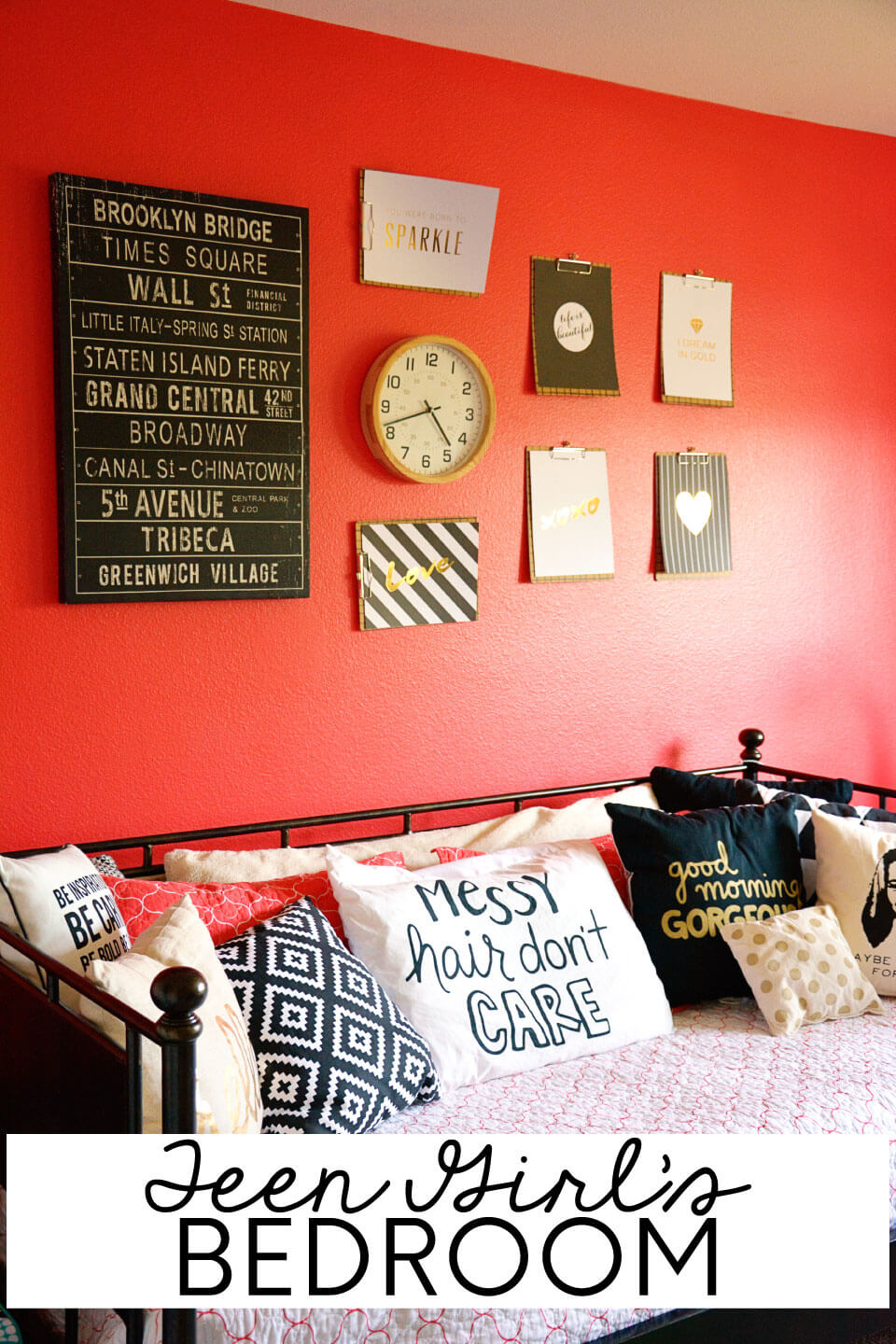 Teen Girl's Bedroom: A simple update to a girls bedroom to make it all hers! from www.thirtyhandmadedays.com