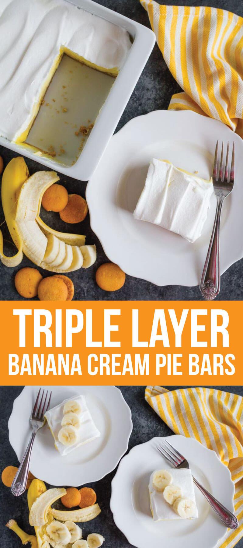 The most delicious Triple Layer Banana Cream Pie Bars - a good, easy dessert recipe via www.thirtyhandmadedays.com