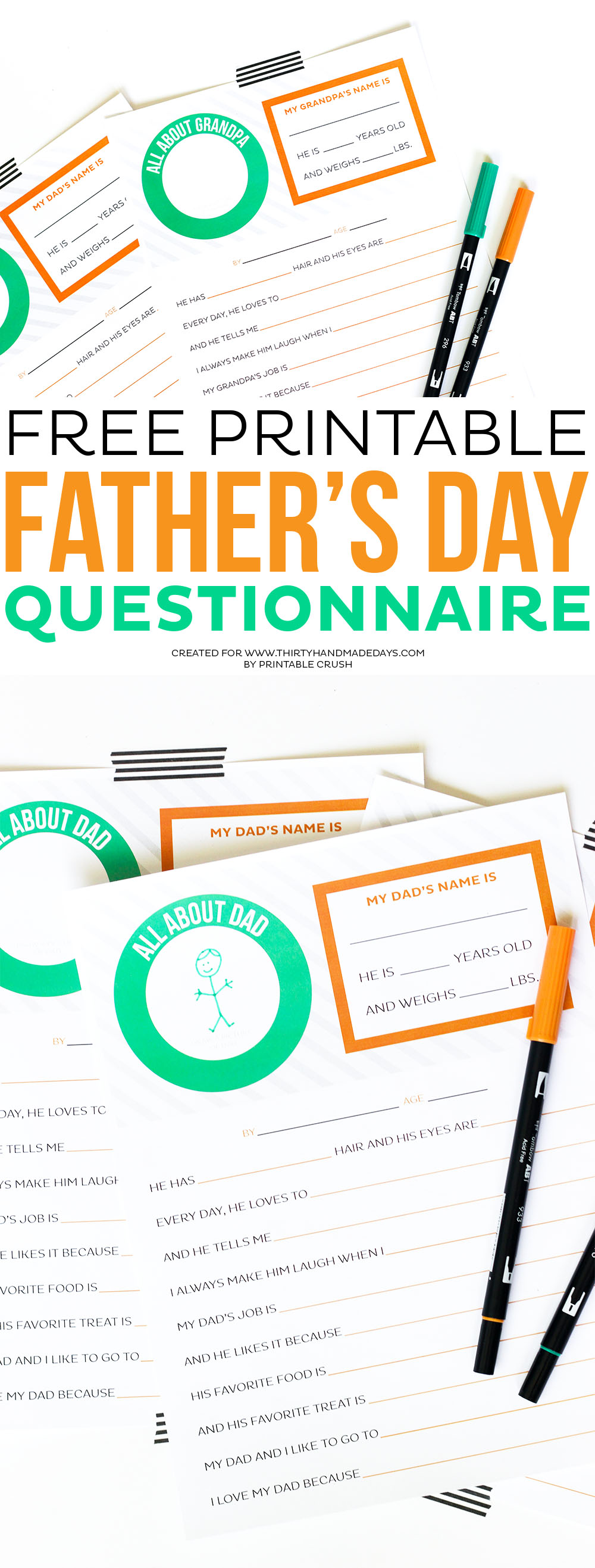 image regarding Dad Questionnaire Printable named Absolutely free Printable Fathers Working day Questionnaire - 30 Homemade Times