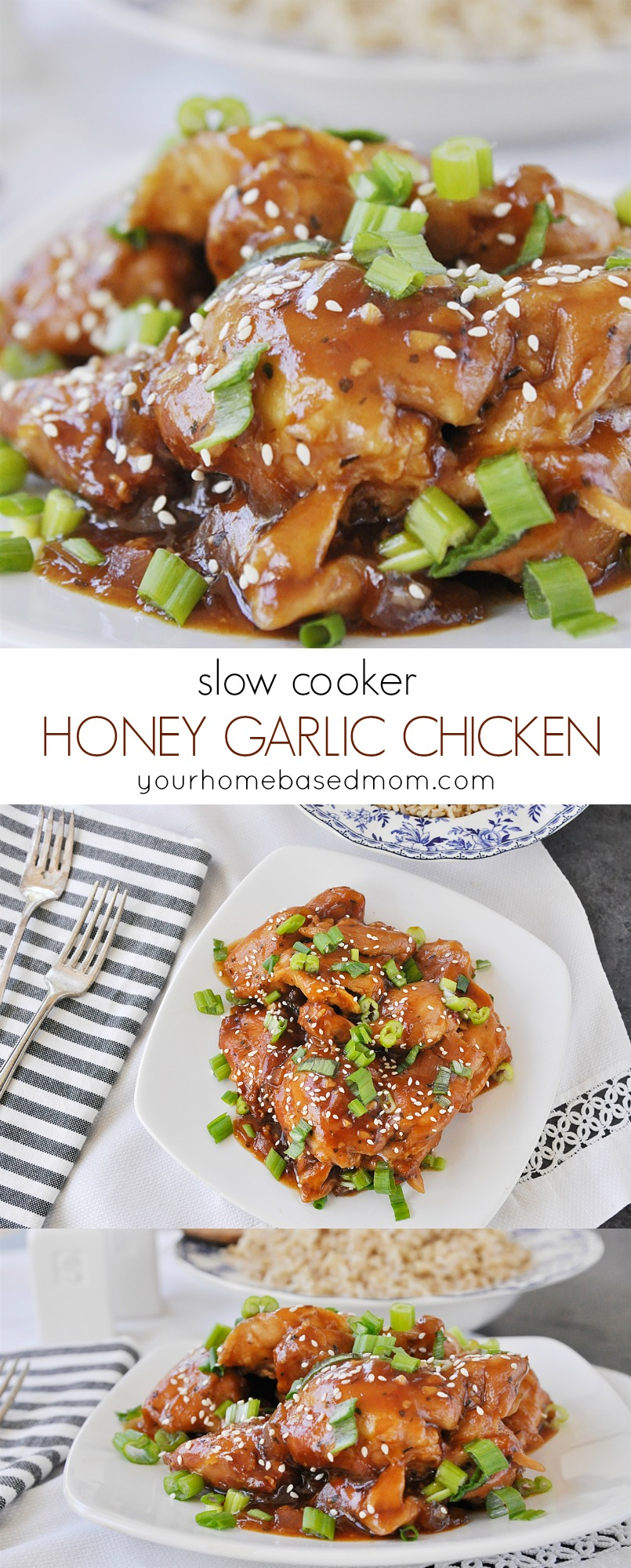 Slow Cooker Honey Garlic Chicken is the perfect way to get dinner on the table.  The slow cooker makes it so easy!