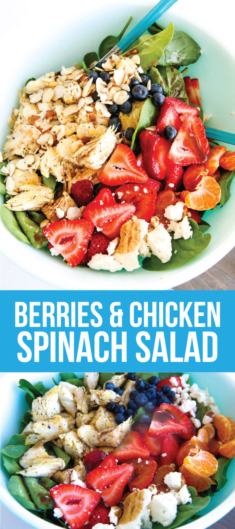 Berries and Chicken Spinach Salad - a tasty, healthy salad that is super easy to make. from www.thirtyhandmadedays.com