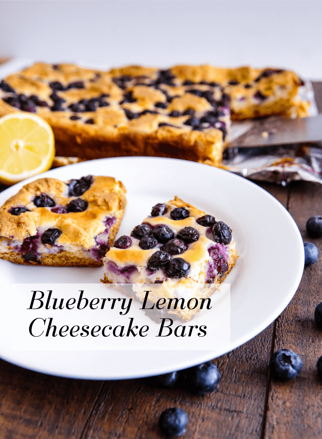 Food: Blueberry Lemon Cheesecake Bars - try this simple and delicious recipe! You'll have a hard time stopping at one piece. from www.thirtyhandmadedays.com