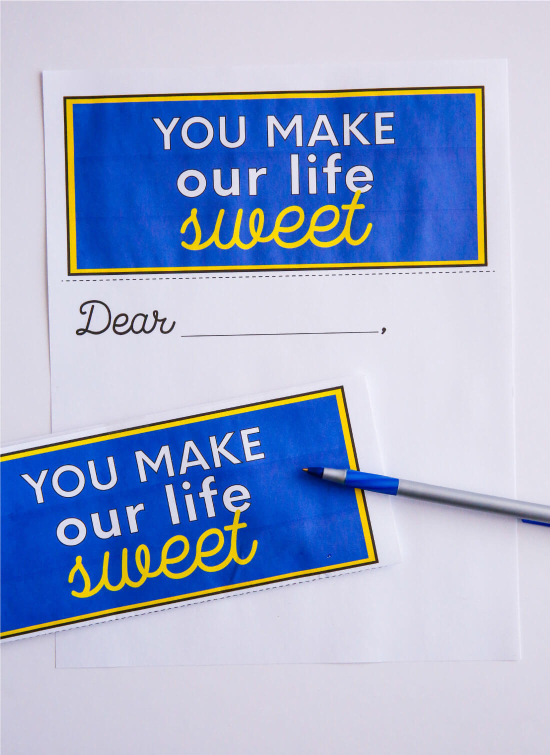 "Printable ""You Make Our Life Sweet"" letter from www.thirtyhandmadedays.com"