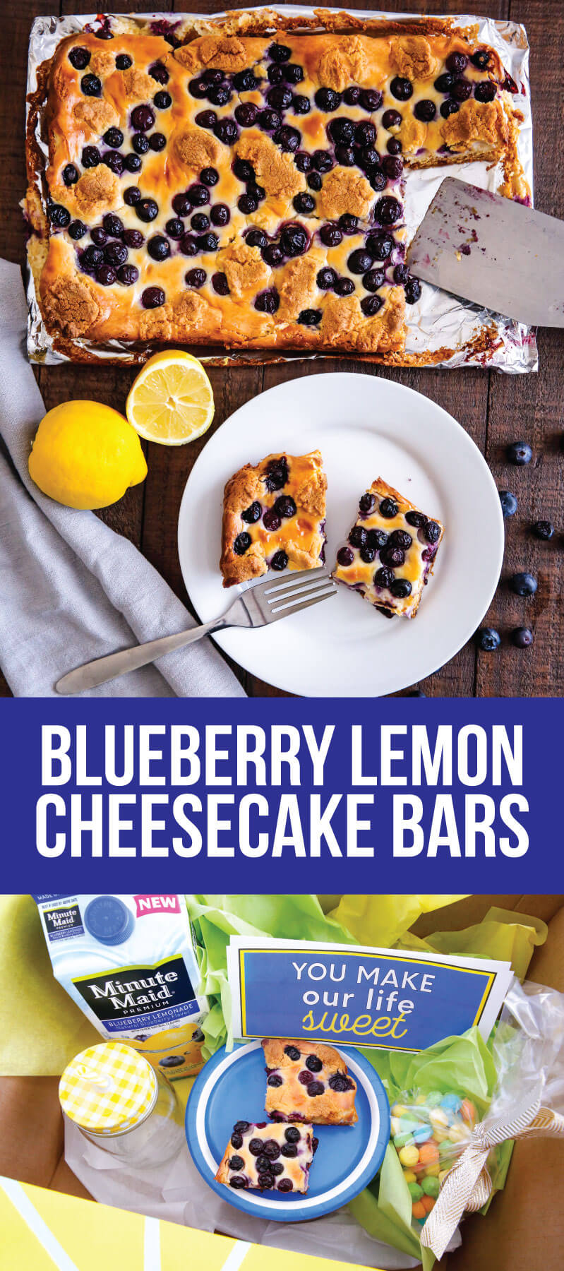 Blueberry Lemon Cheesecake Bars - try this simple and delicious recipe! You'll have a hard time stopping at one piece. from www.thirtyhandmadedays.com