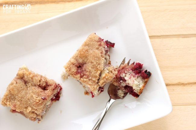 This Triple Blueberry Buckle Recipe is perfect for spring and summer. It's easy and delicious! From CraftingE via www.thirtyhandmadedays.com
