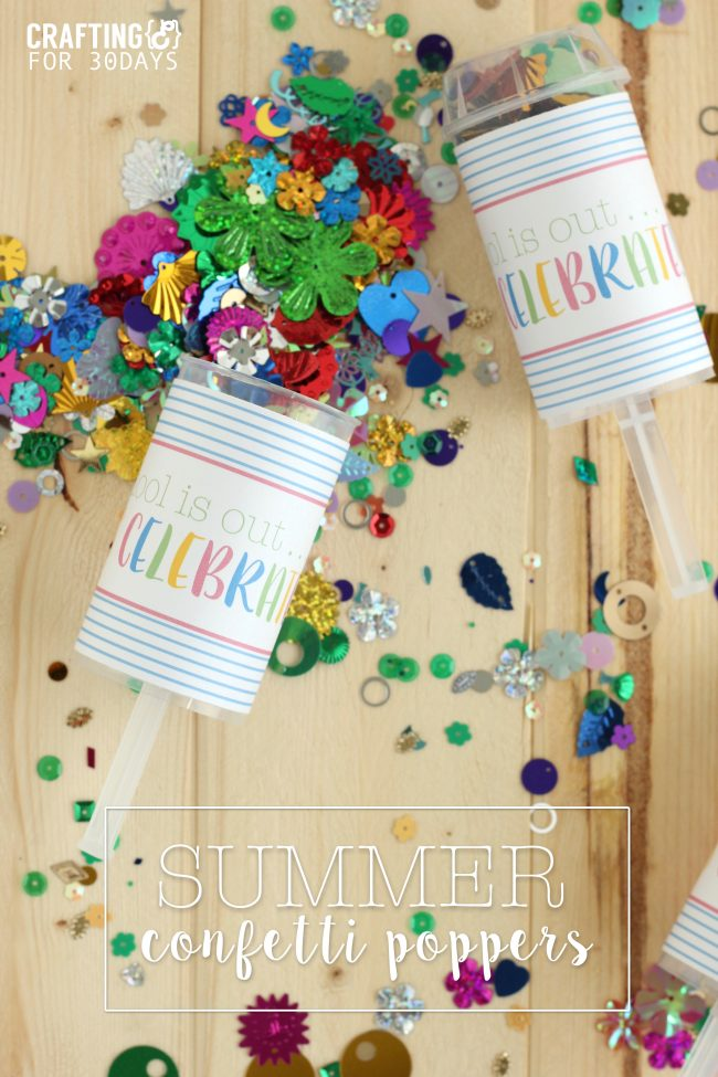 Confetti Party Poppers that are perfect for when school gets out!