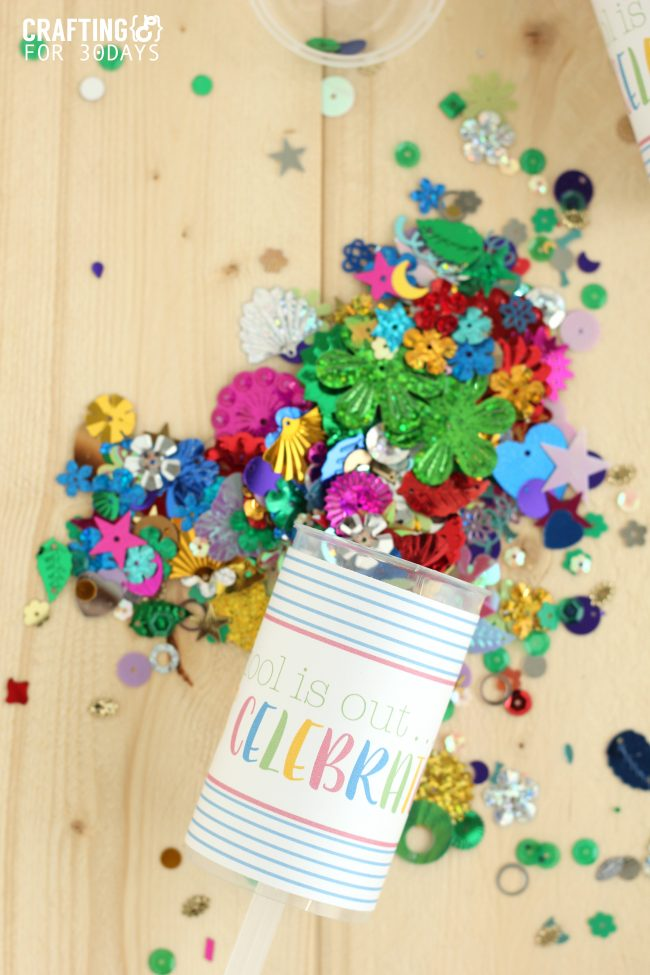 Confetti Party Poppers that are perfect for when school gets out! from CraftingE via www.thirtyhandmadedays.com