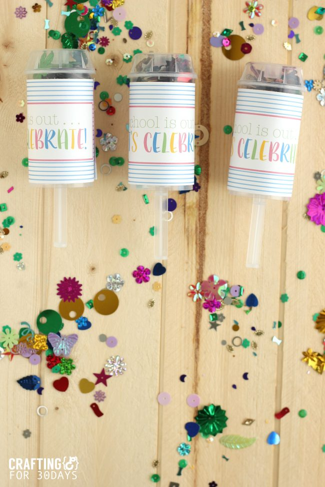 Confetti Party Poppers that are perfect for when school gets out! CraftingE via www.thirtyhandmadedays.com