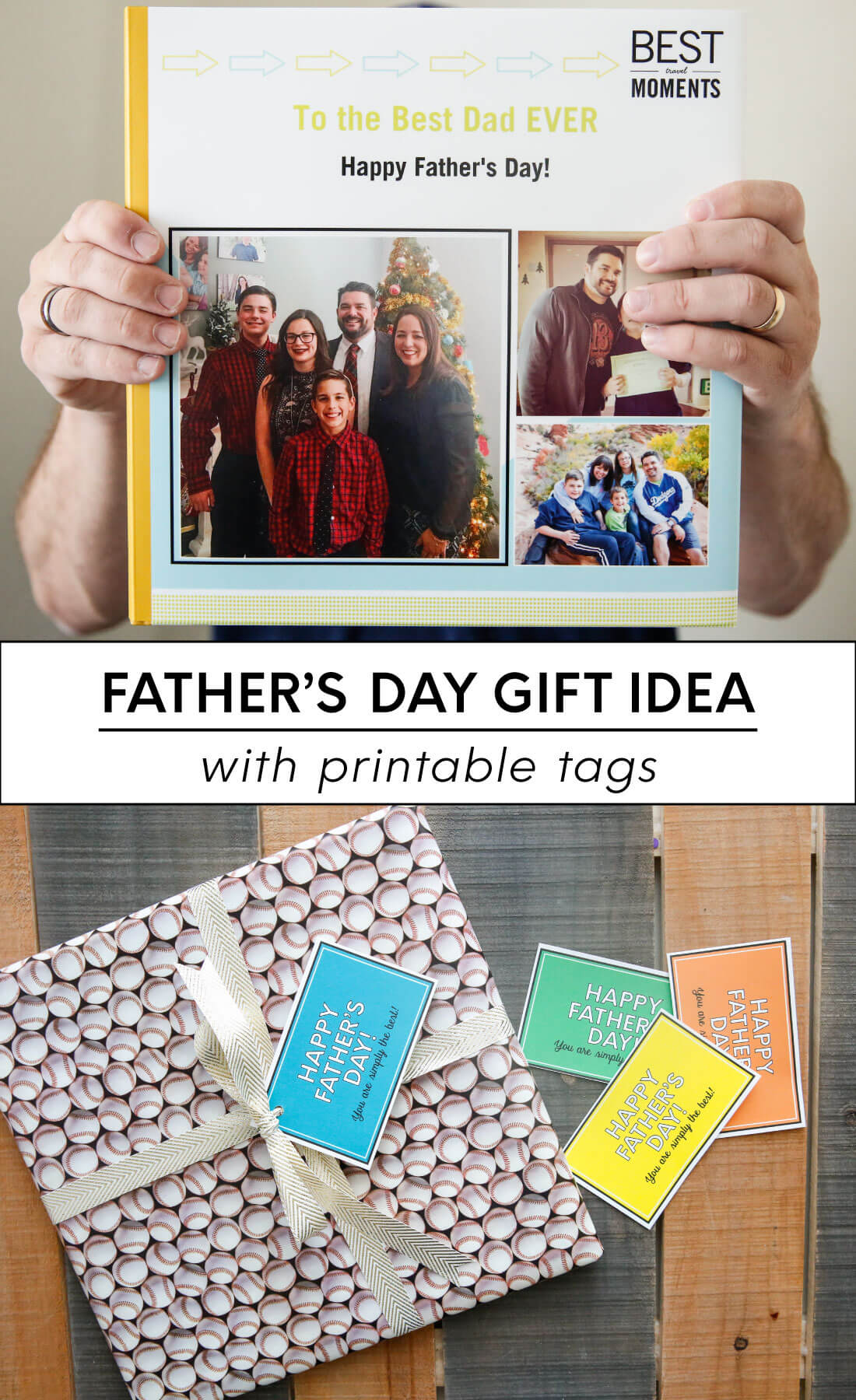Father's Day Gift Idea with printable tags - use this service from Shutterfly to create a one of a kind photo album for dad. www.thirtyhandmadedays.com