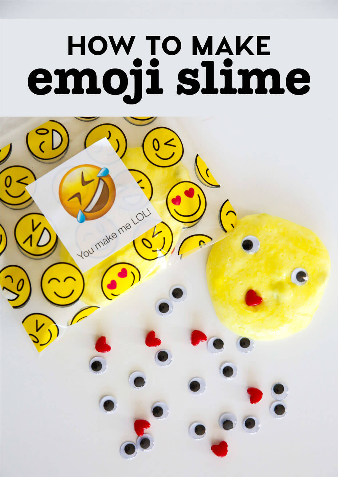 How to Make Emoji Slime - super easy and fun craft to do with your family! www.thirtyhandmadedays.com