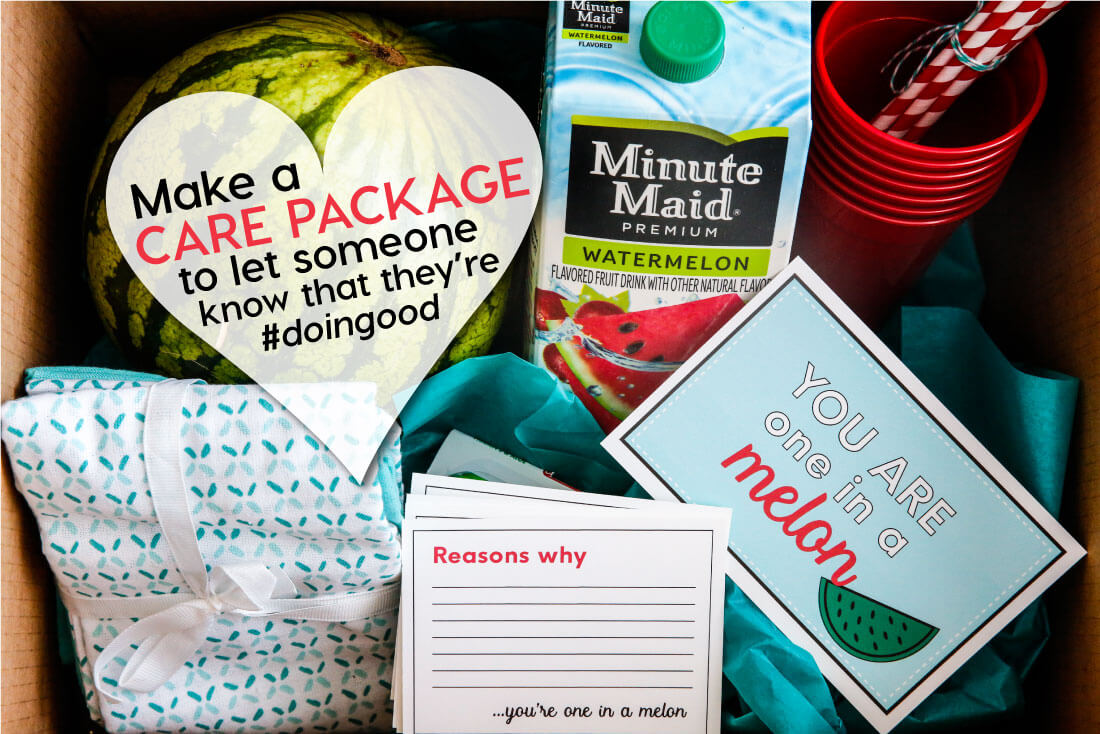 """Make a """"Reverse"""" Care Package with the help of Minute Maid. Let someone know that they are one in a """"melon!"""" Cute printables included. www.thirtyhandmadedays.com"""