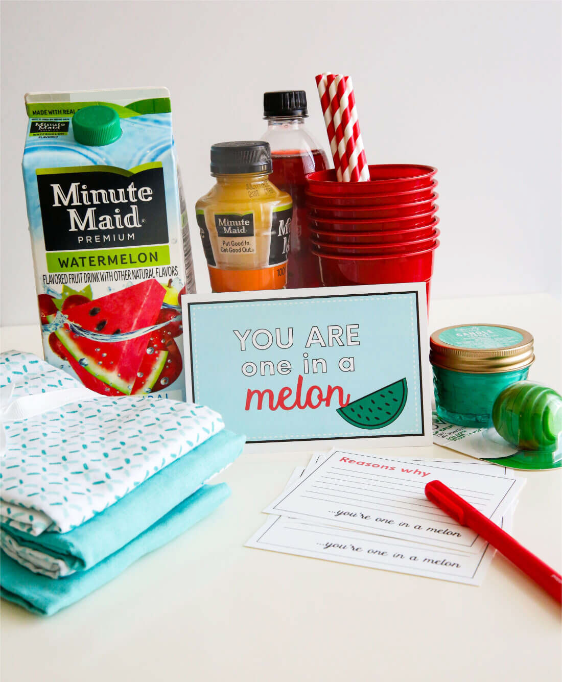 """Make a """"Reverse"""" Care Package with the help of Minute Maid. Let someone know that they are one in a """"melon!"""" Cute printables included. from www.thirtyhandmadedays.com"""