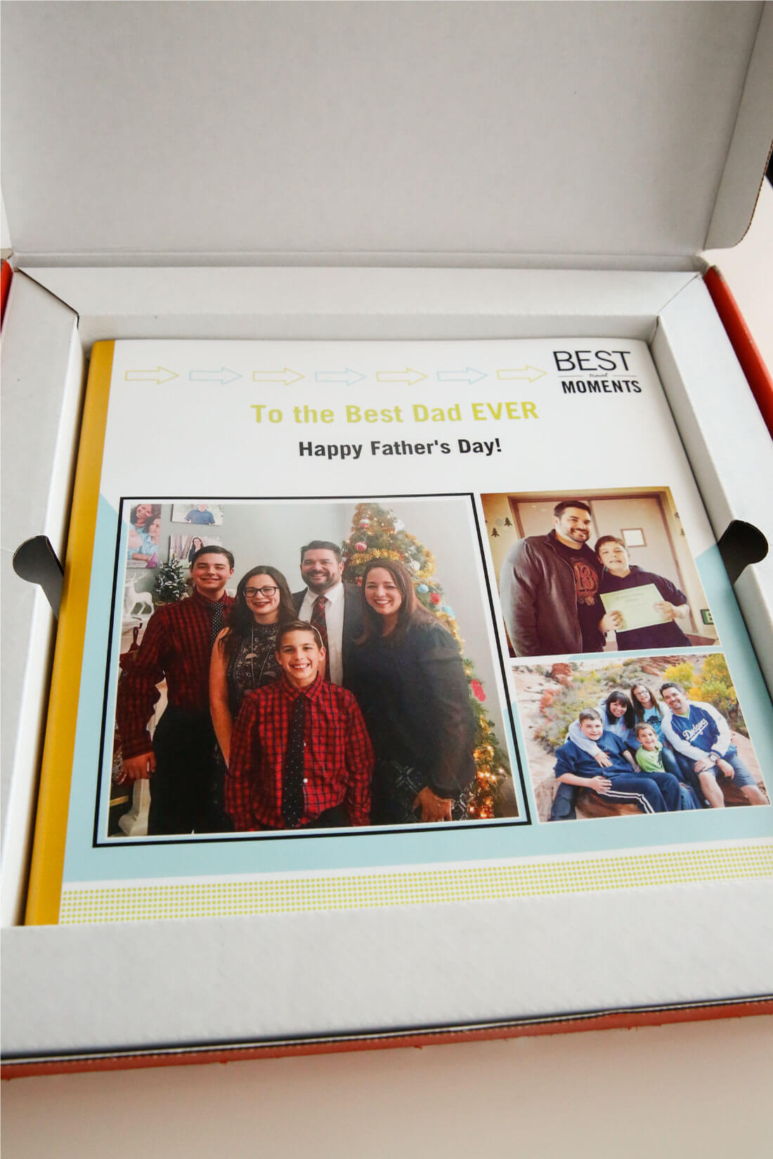 Father's Day Gift Idea with printable tags - use this service from Shutterfly to create a one of a kind photo album for dad. (in the box) from www.thirtyhandmadedays.com