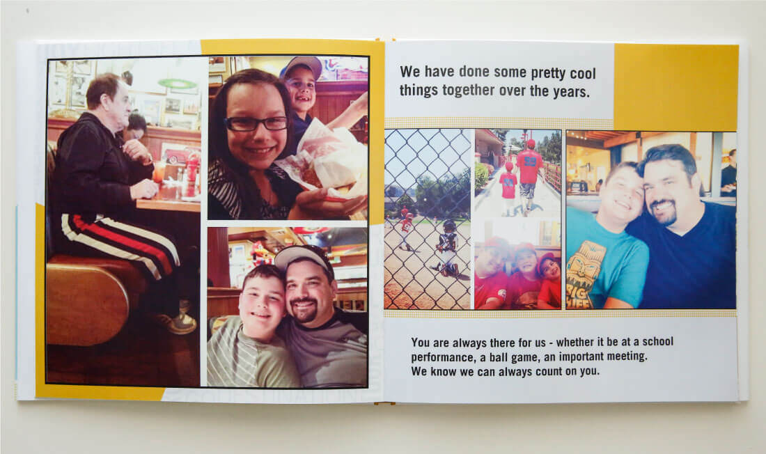 Father's Day Gift Idea with printable tags - use this service from Shutterfly to create a one of a kind photo album for dad. (pages 10-11)