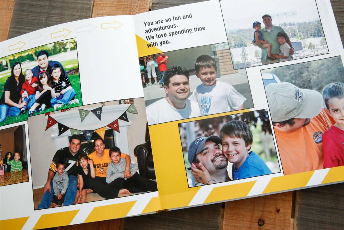 Father's Day Gift Idea with printable tags - use this service from Shutterfly to create a one of a kind photo album for dad. (pages 2-3)