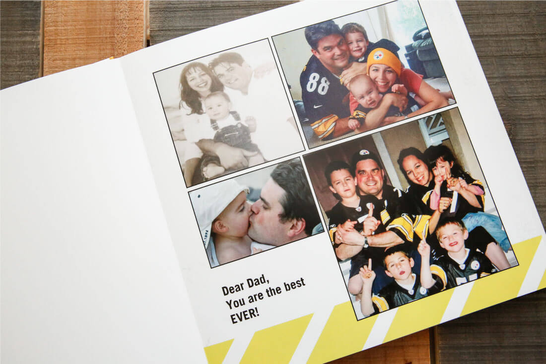 Father's Day Gift Idea with printable tags - use this service from Shutterfly to create a one of a kind photo album for dad. (first page)