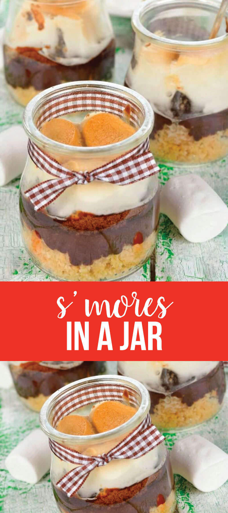 S'mores Dessert in a Jar - make these cute treats for summer!