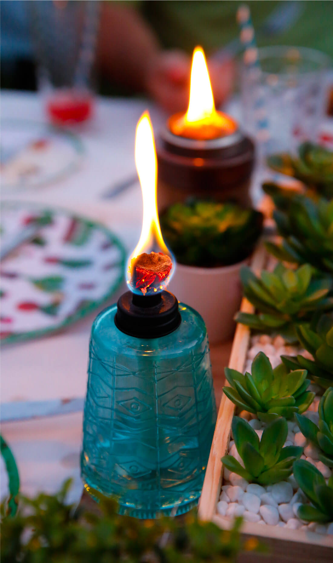 Love these TIKI tabletop torches.