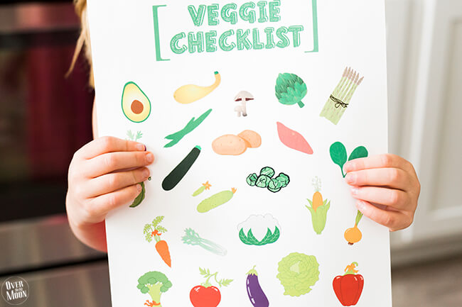 A perfect way to get your kids to eat more vegetables, this kids printable vegetable checklist will make life easier! from Over the Big Moon