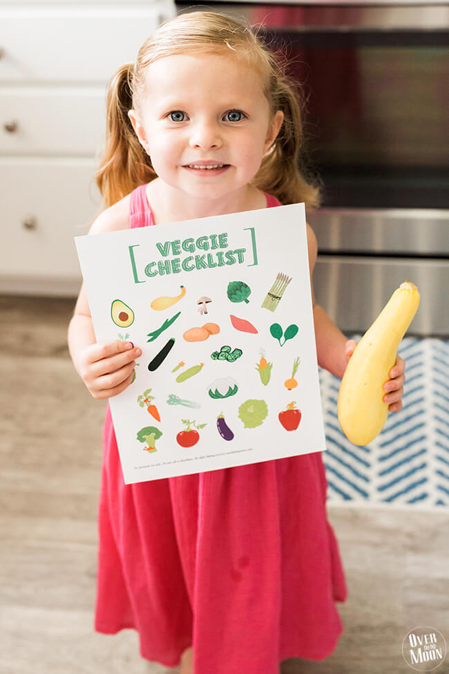 A perfect way to get your kids to eat more vegetables, this kids printable vegetable checklist will make life easier! from Over the Big Moon via www.thirtyhandmadedays.com
