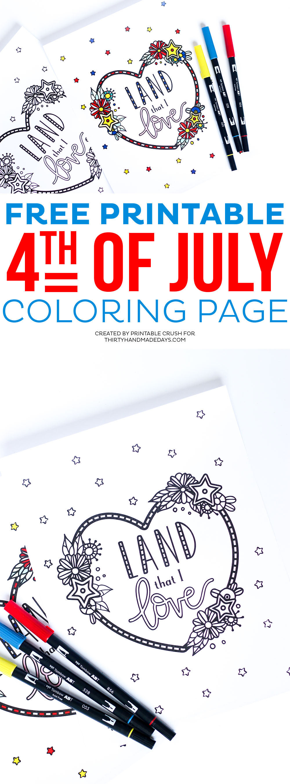 Download this pretty FREE Printable Fourth of July Coloring Page for your kids or for guests at your Independence Day party!