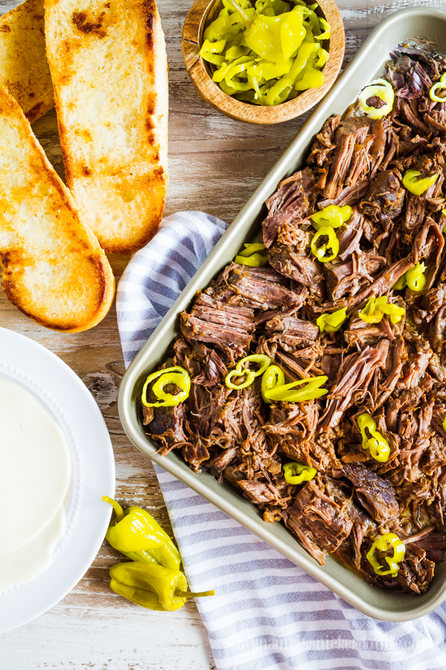 Instant Pot Italian Beef Recipe - easy to make in under an hour! via www.thirtyhandmadedays.com