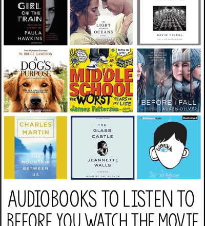 Audiobooks to listen to before you see the movie- make sure to read/listen to these books before hitting the theater! www.thirtyhandmadedays.com
