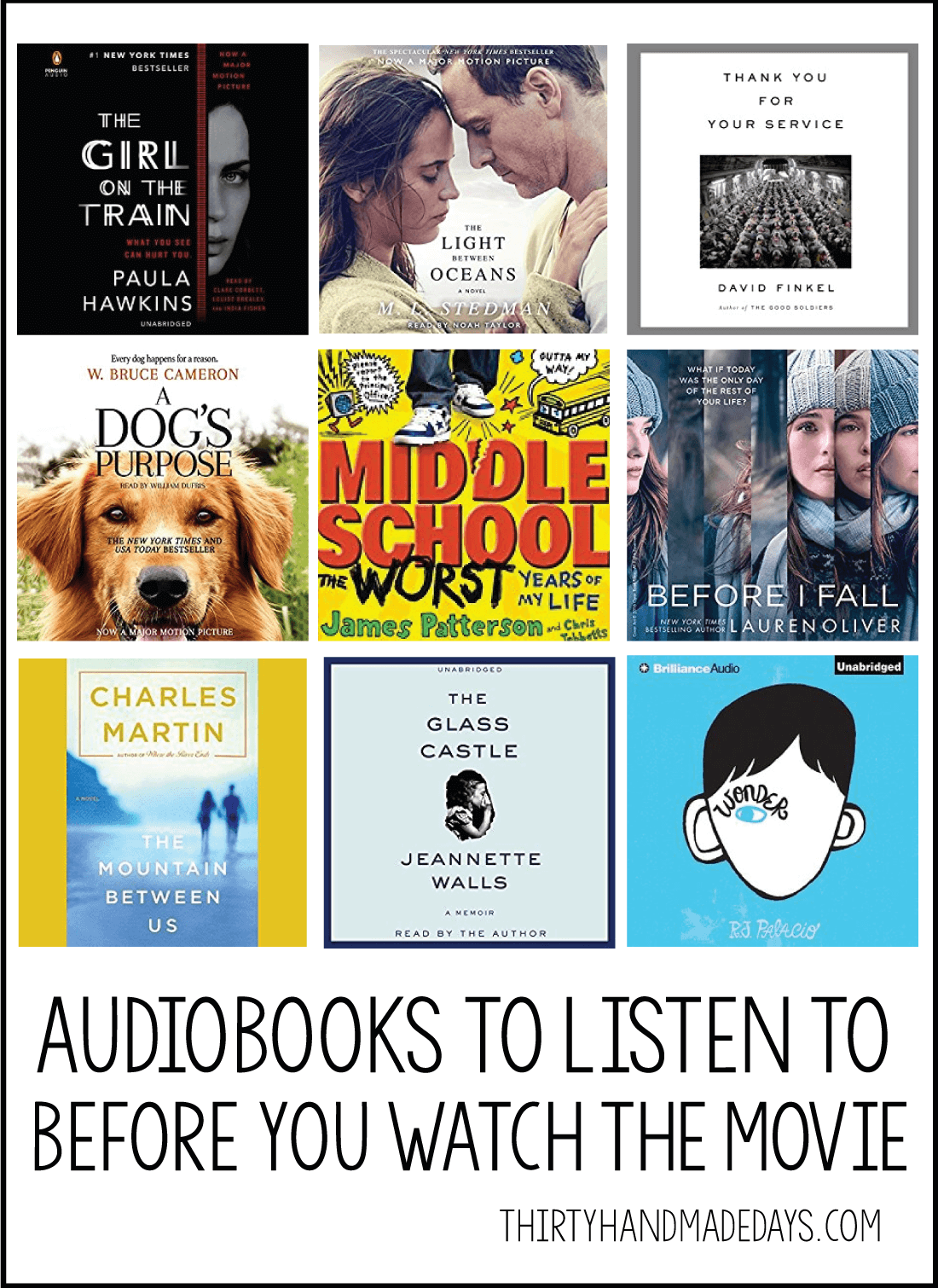Audible Audiobooks to listen to before you see the movie- make sure to read/listen to these books before hitting the theater! www.thirtyhandmadedays.com