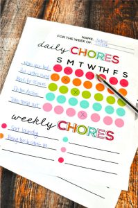 Printable Chore Chart for Kids - can be used for adults too! www.thirtyhandmadedays.com