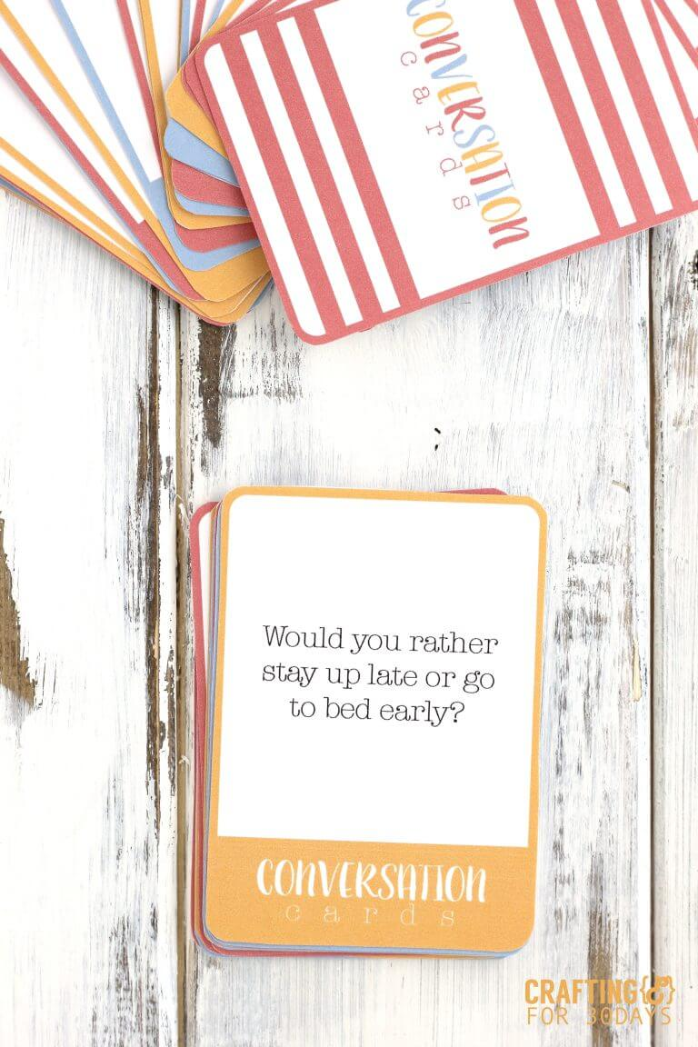 Printable conversation questions card game - fun for summer with kids! via thirtyhandmadedays.com