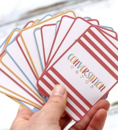 Printable conversation questions card game - fun for summer with kids! thirtyhandmadedays.com