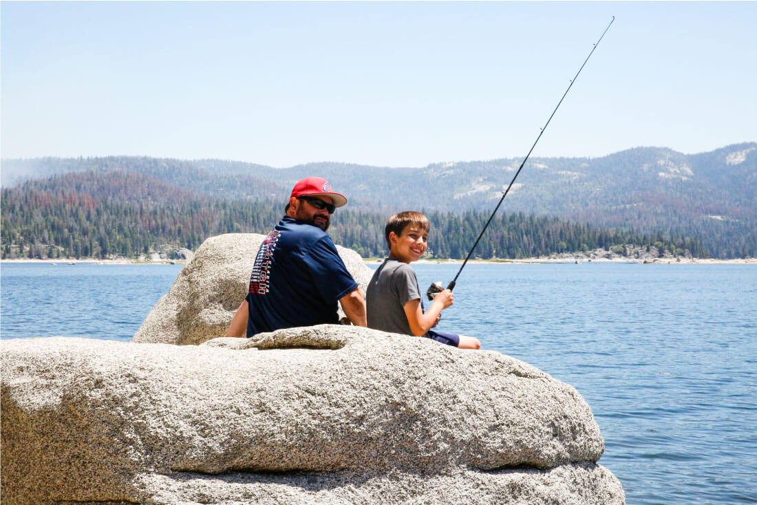 Fishing with Dad on our RV trip