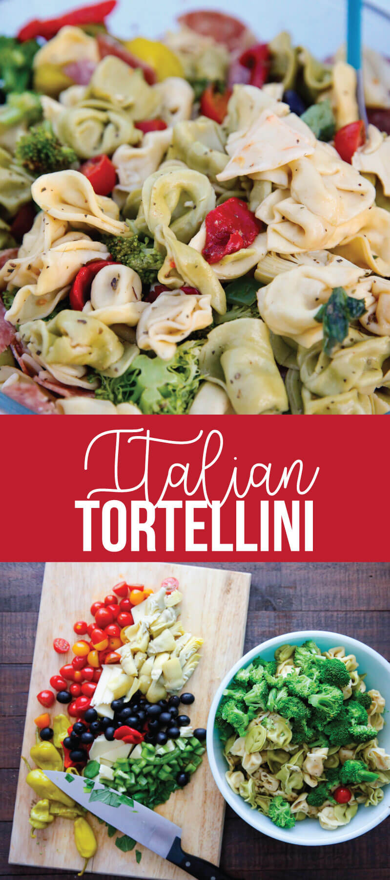 An awesome Italian salad with tortellini, vegetables meats and cheese. This Italian Tortellini Salad will be a huge hit wherever you take it! Perfect potluck dish. www.thirtyhandmadedays.com