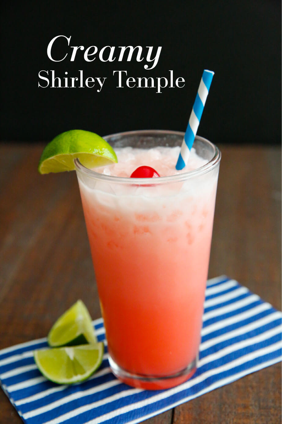 Creamy Shirley Temple - simple and delicious drink recipe. It's so refreshing!