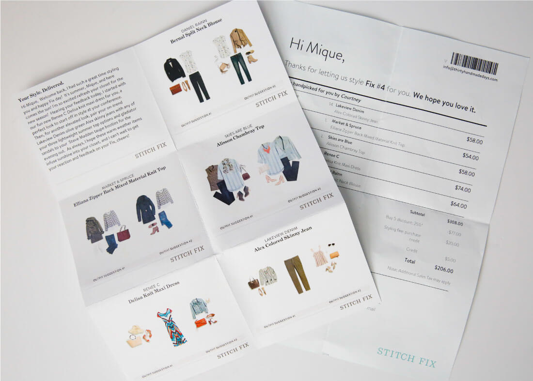 How Stitch Fix Works - the information that is sent to you with each box.