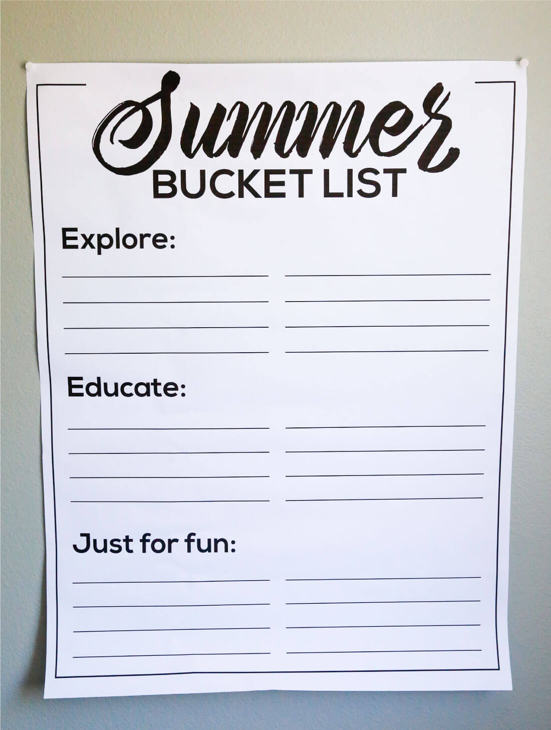 Printable Summer Bucket List - made to help have a more fun and memorable summer. www.thirtyhandmadedays.com