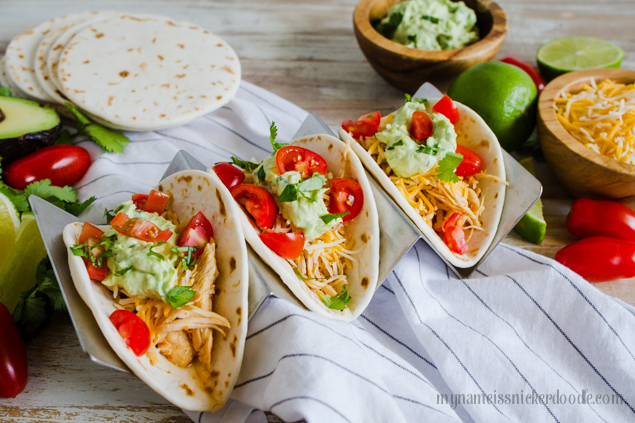 Chili Lime Chicken Tacos Made In The Instant Pot from My Name is Snickerdoodle via www.thirtyhandmadedays.com
